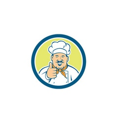 Chef Cook Happy Thumbs Up Circle Retro vector image