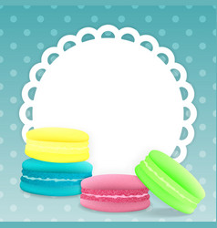 Colorful macaroons on a light blue background vector