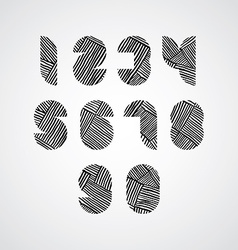 Contemporary style numbers with hand drawn lines vector image