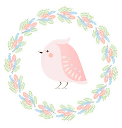 Cute kawaii spring bird and feathers wreath vector