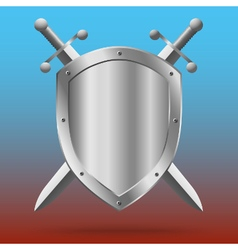 Double-edged swords and medieval shield vector