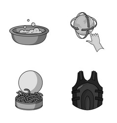 Fishing cleaning and other monochrome icon in vector