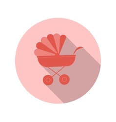 Flat design concept baby strollers with long vector