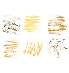 Gold charcoal hand drawing abstract on white vector