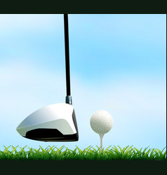 Golf club and golf ball on the lawn vector