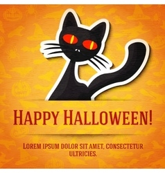 Happy halloween greeting card with black cat vector