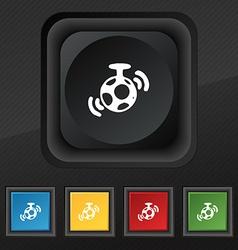 Mirror ball disco icon symbol set of five colorful vector