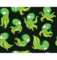 Octopuses in cartoon seamless pattern vector