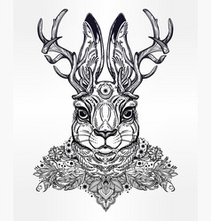 ornate decorative jacalope magical creature art vector image vector image