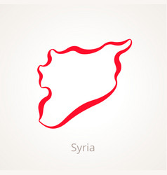 Outline map of syria marked with red line vector