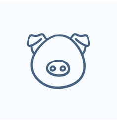 Pig head sketch icon vector