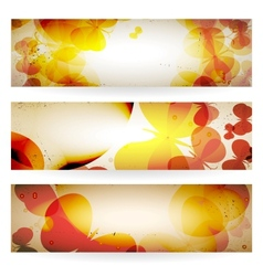 Set of grunge banners with butterflies vector image vector image