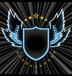 shield and wings vector image vector image