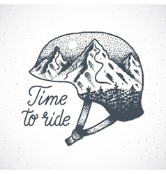 Time to Ride Abstract Hand Drawn Snowboard vector image