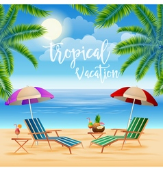 Tropical paradise exotic island with palm trees vector