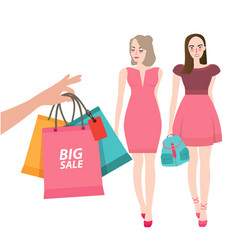 two girls friends walking shopping bring bag big vector image vector image