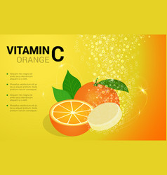 Vitamin c orange soluble pills with orange flavour vector