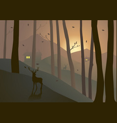 Woods on hills during sunset or sunrise vector