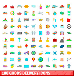 100 goods delivery icons set cartoon style vector