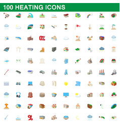 100 heating icons set cartoon style vector image