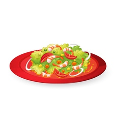 prawns salad in red dish vector image