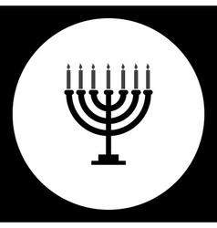 Black isolated jewish candelabrum with seven vector