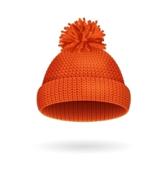 Knitted woolen red hat for winter season vector
