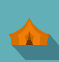 Orange tent for forest camping icon flat style vector