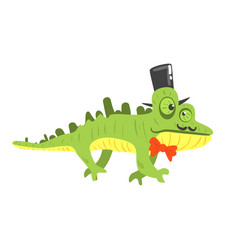 Cite cartoon chameleon wearing black top hat vector