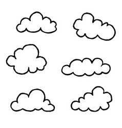 Cloud icon set doodle line art weather sign vector