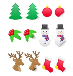 icons labels for christmas and new year vector image