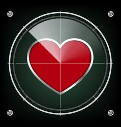 Technology radar screen red heart vector