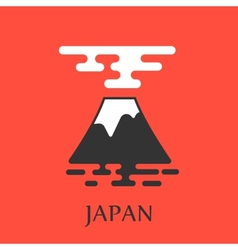 Fuji mountain with big red sun vector image