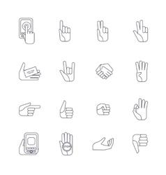 Hand icons set line contour vector