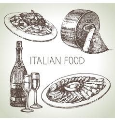 Hand drawn sketch italian food set vector