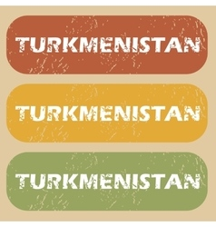 Vintage turkmenistan stamp set vector