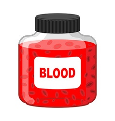 Blood bank bottle of red liquid-lymph gif vector