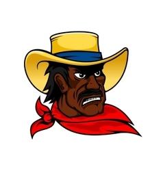 African american cartoon cowboy man in hat vector image