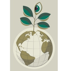 Green earth and plant with an eye vector