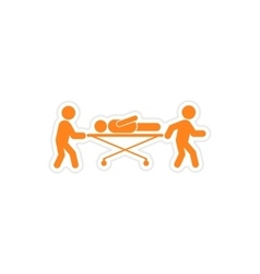 Paper sticker patient on stretcher white vector