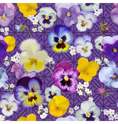 Pansy flowers background - seamless pattern vector
