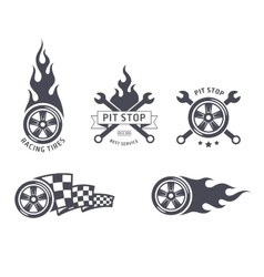 Racing tires and service emblems vector