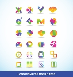 Logo icon set elements for apps vector image
