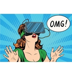 Omg emotions from virtual reality retro girl vector