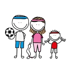 happy family sport drawing isolated icon design vector image