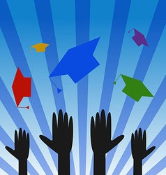 Graduation hats throwing high vector
