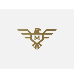 Eagle logotype letter shield logo design vector