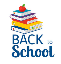 back to school with books icon vector image
