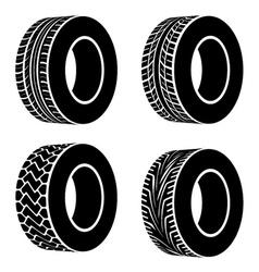 Black tyre symbols vector