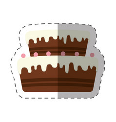 cake dessert chocolate cream shadow vector image